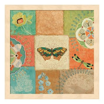 Metaverse Art Folk Floral IV Center Butterfly Framed Wall Art