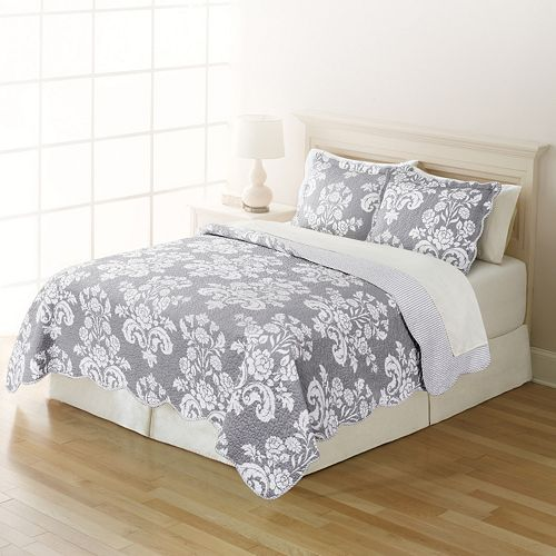 Home Classics® Sarah Gray Damask Quilt