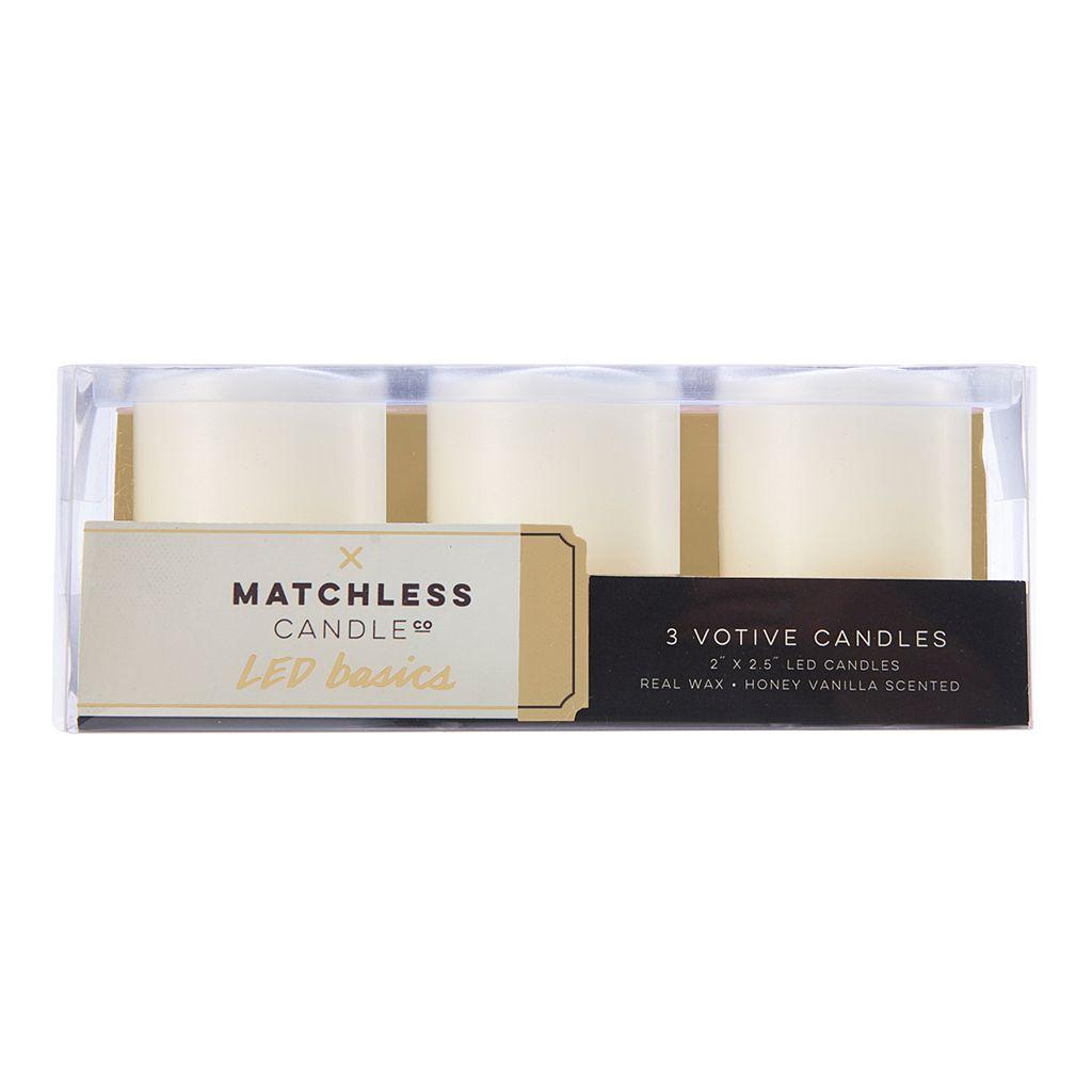 Matchless Candle Co. LED Basics Vanilla Honey Flameless Votive Candle 3-piece Set