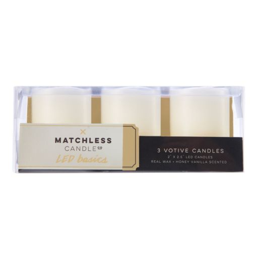 Matchless Candle Co. LED Basics Vanilla Honey Flameless Votive Candle 3-piece Set