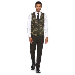 Men's WD.NY Slim-Fit Black & Camo Suit Vest
