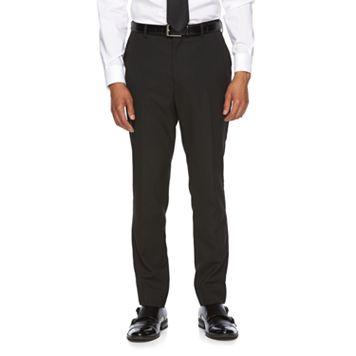 Men's WD.NY Slim-Fit Black Flat-Front Suit Pants