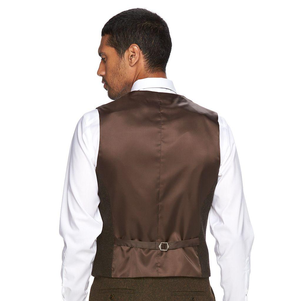 Men's WD.NY Slim-Fit Brown Shawl-Collar Tweed Wool-Blend Suit Vest