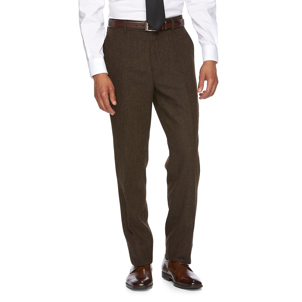 Men's WD.NY Slim-Fit Brown Tweed Wool-Blend Flat-Front Suit Pants