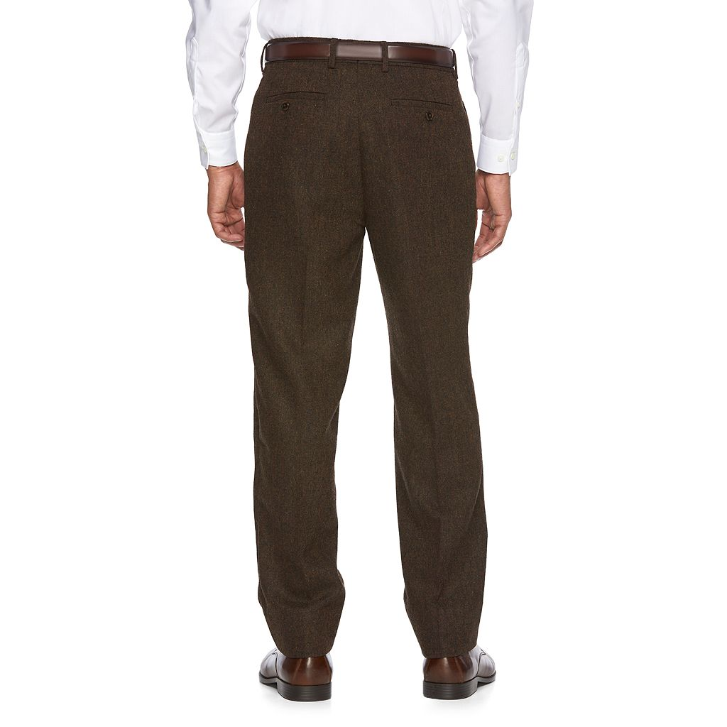 Men's WD.NY Slim-Fit Brown Tweed Wool-Blend Flat-Front Suit Pants
