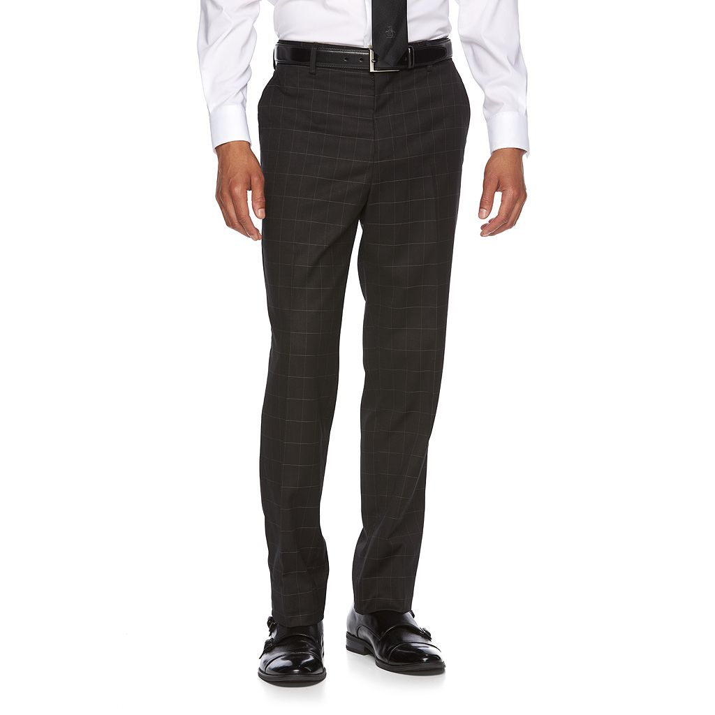 Men's WD.NY Slim-Fit Windowpane Flat-Front Suit Pants