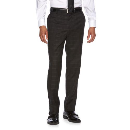 Men's WD.NY Slim-Fit Windowpane Flat-Front Suit Pants