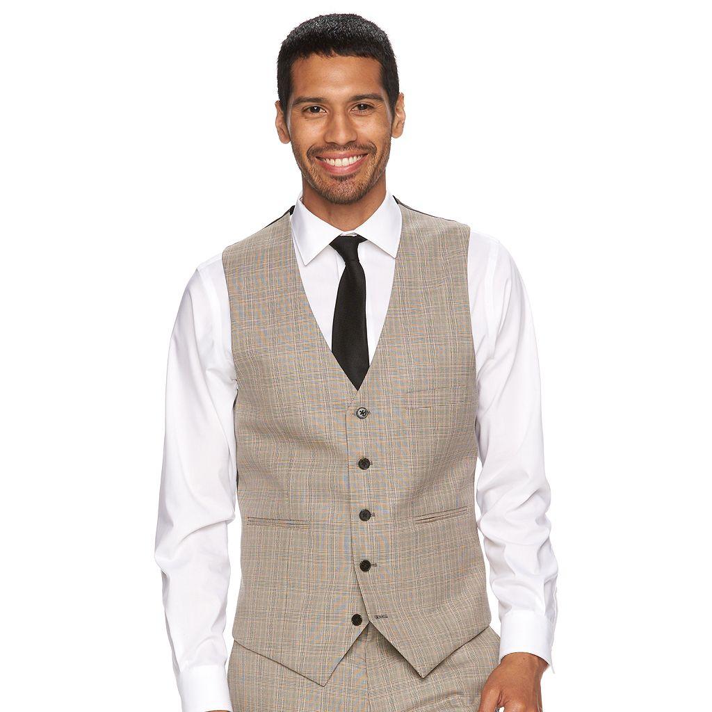Men's WD.NY Slim-Fit Tan Plaid Suit Vest