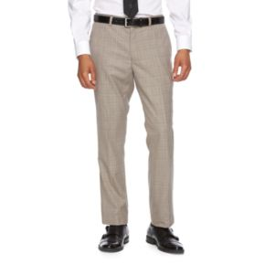 Men's WD.NY Slim-Fit Tan Plaid Flat-Front Suit Pants
