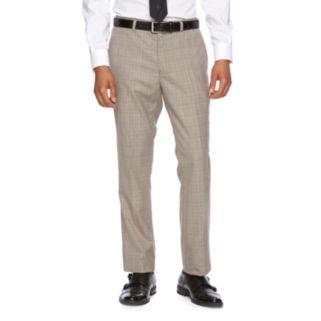 Men's WD.NY Slim-Fit Tan Plaid Flat-Front Suit Pants