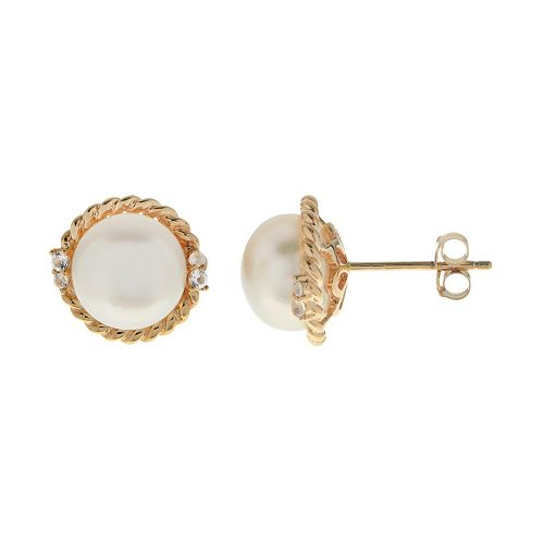 PearLustre by Imperial 10k Gold Freshwater Cultured Pearl & White Topaz Stud Earrings