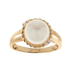 PearLustre by Imperial 10k Gold Freshwater Cultured Pearl & White Topaz Halo Ring
