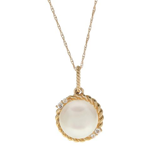 PearLustre by Imperial 10k Gold Freshwater Cultured Pearl & White Topaz Halo Pendant