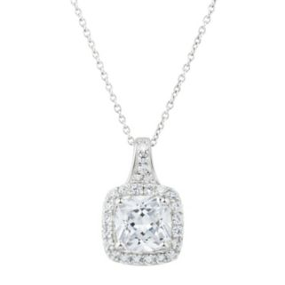 DiamonLuxe Sterling Silver 3 3/8 Carat T.W. Simulated Diamond Cushion Halo Pendant