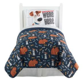"""The Secret Life of Pets """"Wish You Were Here""""  4-piece Reversible Twin Bed Set"""