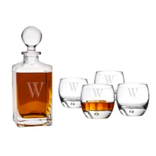 Cathy's Concepts 5-pc. Monogram Square Whiskey Decanter Set