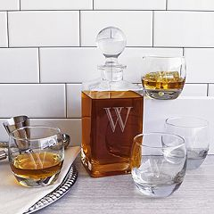 Cathy's Concepts 5 pc Monogram Square Whiskey Decanter Set