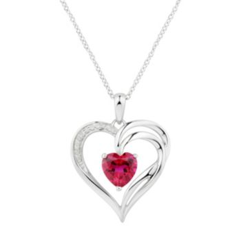 Two Hearts Forever One Lab-Created Ruby &  1/4 Carat T.W. Diamond Heart Pendant