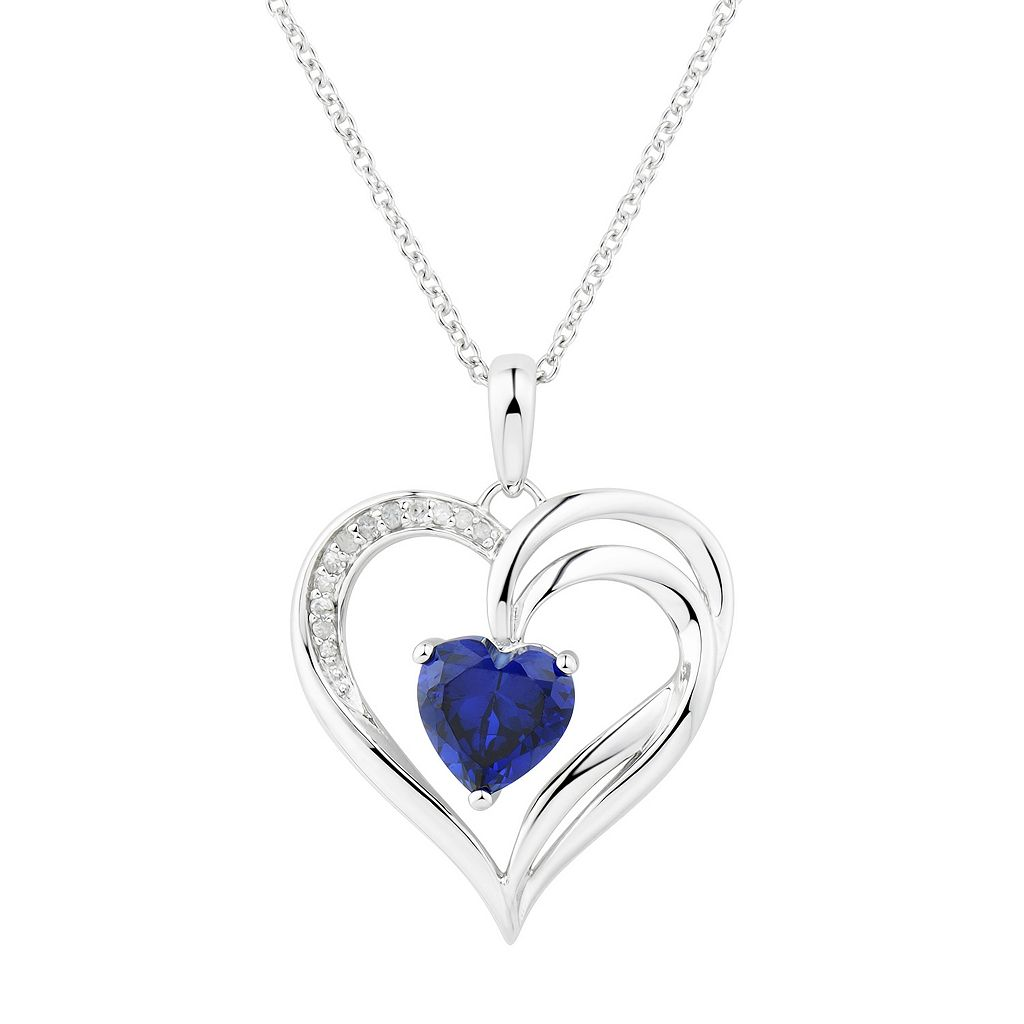 Two Hearts Forever One Lab-Created Sapphire & 1/4 Carat T.W. Diamond Heart Pendant
