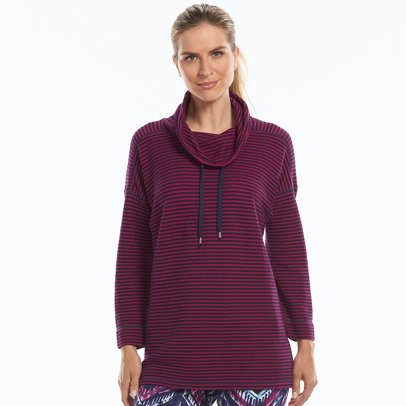 Chaps Striped Cowlneck Sweatshirt - Women's