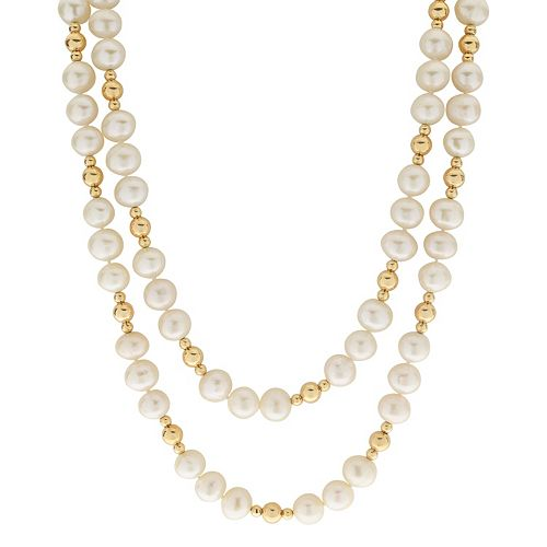 PearLustre by Imperial 14k Gold Filled Freshwater Cultured Pearl Beaded Long Double Strand Necklace