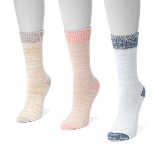 Women's MUK LUKS 3-pk. Marled Crew Socks