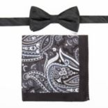 Men's Croft & Barrow® Patterned Pre-Tied Bow Tie & Pocket Square Set