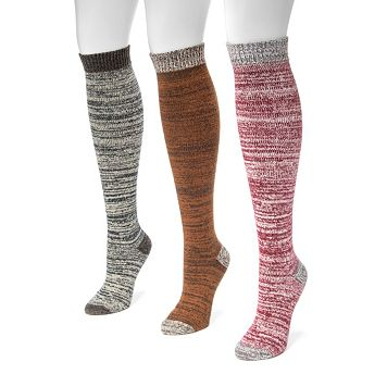 Women's MUK LUKS 3-pk. Marled Knee-High Socks