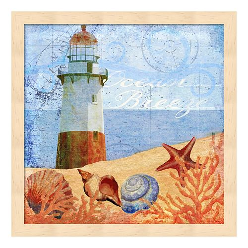 Metaverse Art Ocean Breeze Lighthouse Framed Wall Art