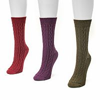 MUK LUKS 3 pkWomen's Cable Boot Socks