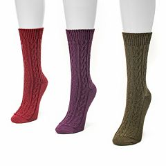 MUK LUKS 3-pk. Women's Cable Boot Socks