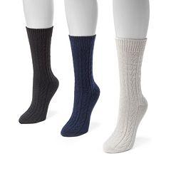 MUK LUKS 3 pkWomen's Cable Boot Socks