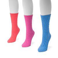MUK LUKS 3 pkWomen's Diamond Boot Socks