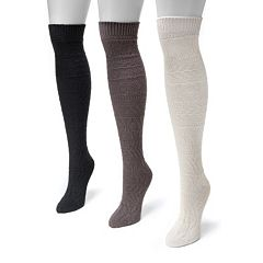 MUK LUKS 3-pk. Women's Diamond Over-the-Knee Boot Socks