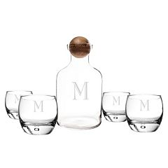 Cathy's Concepts 5 pc Monogram Whiskey Decanter Set