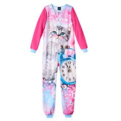 Girls Jellifish Animal Fleece One-Piece Pajamas