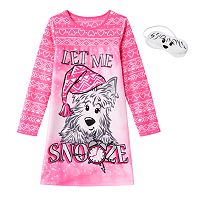 Girls Jellifish Animal Fleece Nightgown & Eyemask
