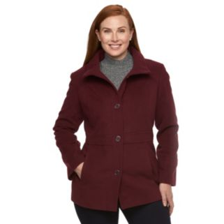 Plus Size d.e.t.a.i.l.s Hooded Single-Breasted Peacoat