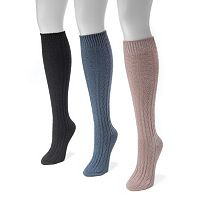 MUK LUKS 3 pkWomen's Cable-Knit Knee-High Boot Socks