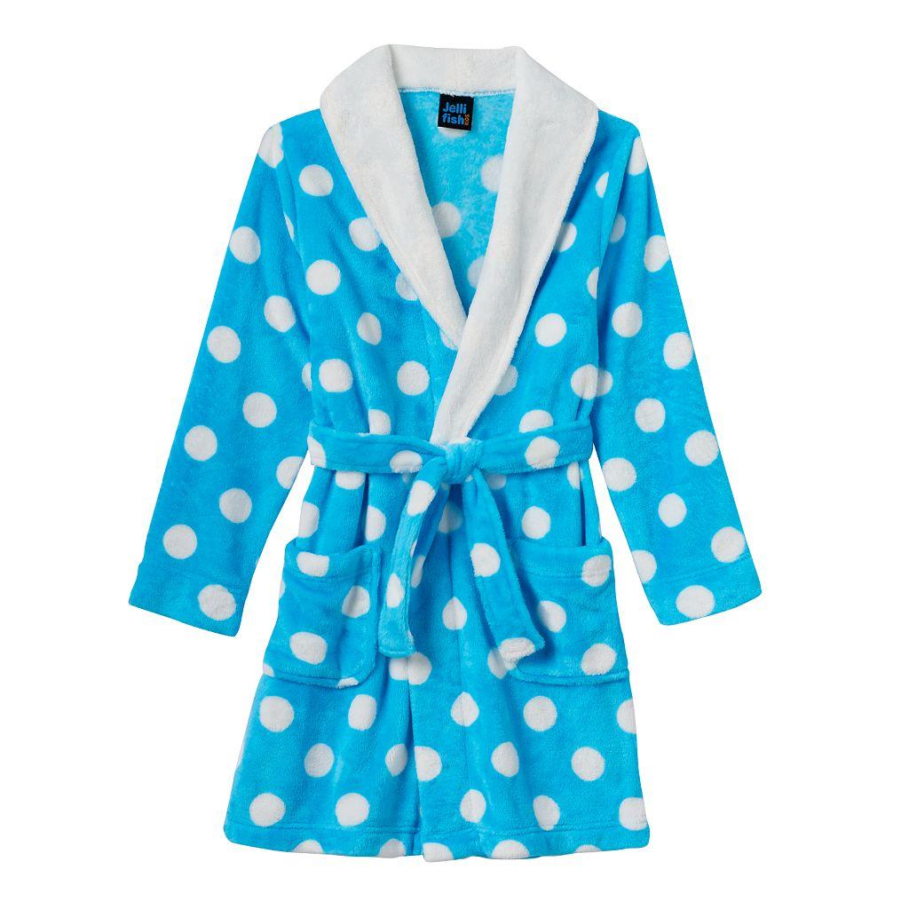 Girls 4-16 Jellifish Print Fleece Bath Robe
