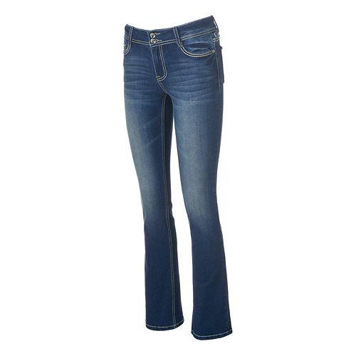 Juniors' Vanilla Star Frayed Bootcut Jeans