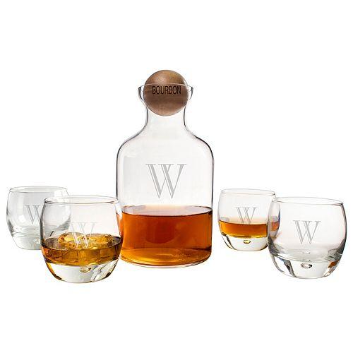 Cathy's Concepts 5-pc. Monogram Bourbon Decanter Set