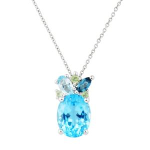 Sterling Silver Blue Topaz & Peridot Pendant Necklace