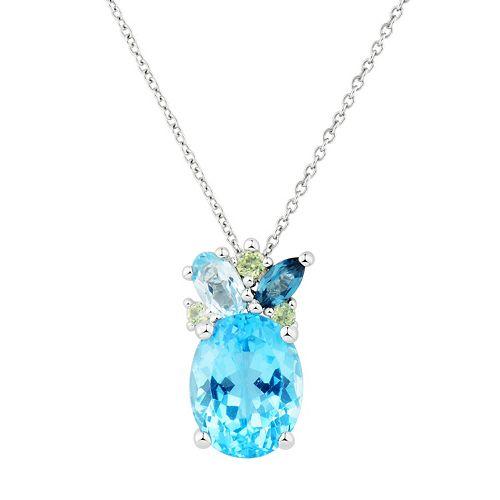Sterling Silver Blue Topaz & Peridot Pendant Necklace