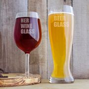 Cathy's Concepts Couples 2 pc Pilsner & Wine Glass Set