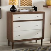 Baxton Studio Harlow Mid-Century Modern Scandinavian 3-drawer Chest