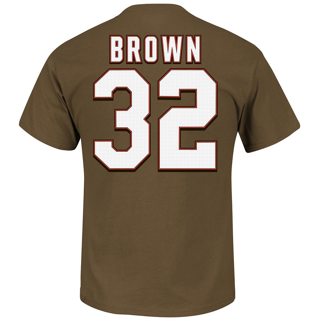 Men's Majestic Cleveland Browns Jim Brown Hall of Fame Eligible Receiver Tee