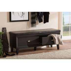 Baxton Studio Emmett Entryway Bench with Shoe Rack