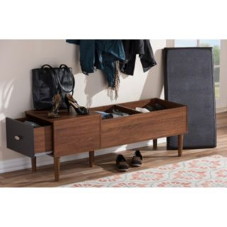 Baxton Studio Merrick Mid-Century Modern Entryway Bench with Shoe Rack