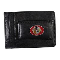 Chicago Blackhawks Black Leather Cash & Card Holder